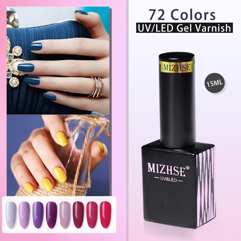 MIZHSE 15ML 72 Colors Gel Nail Polish Hybrid Varnishes UV LED All For Manicure Soak Off Long-lasting Glitter Gel Nail Polish