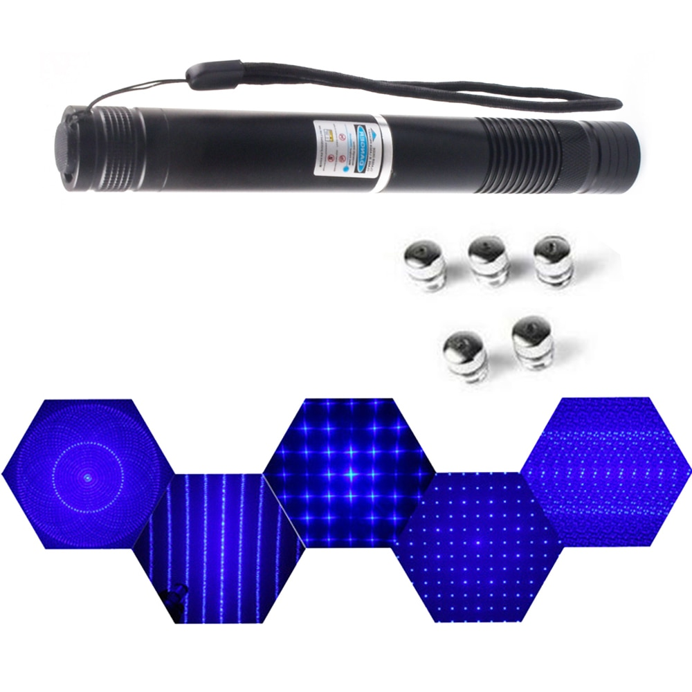 blue laser pointer high power military 100000m 100w 450nm flashlight burning match dry wood candle black burn cigarettes glasses High power extended blue laser pointer 450nm laser sight flashlight burning match / burning cigar / candle / hunting laser