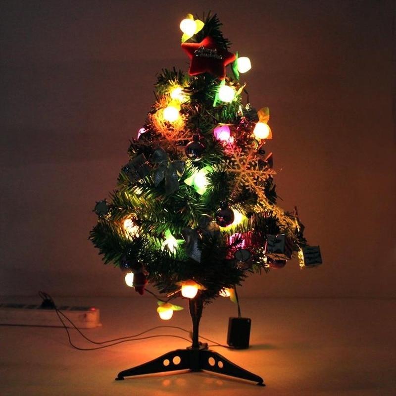 Adornos navideños de 60 Cm, suministros luminosos para decoración de escritorio, miniárbol...