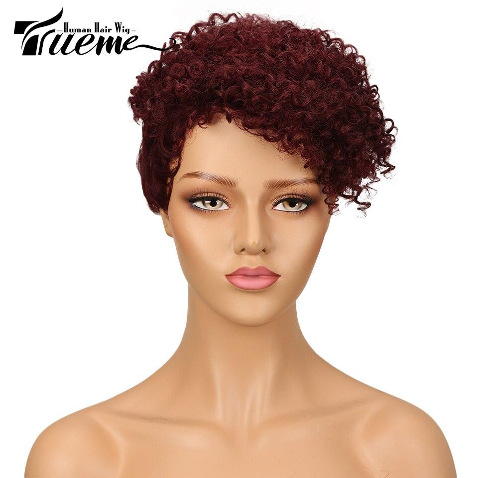 Trueme Клиренс парик бразильский кудрявый парик из человеческих волос короткий парик Pixie Cut дешево милый полный модный парик