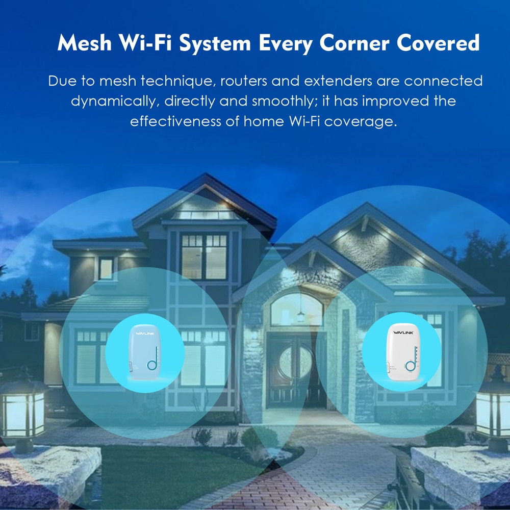 Wavlink Gigabit wifi router 5ghz AC1200 Whole Home WiFi Mesh System Wireless Router Wall-Mounted Dual Band 2.4Ghz Wi-fi Repeater enlarge