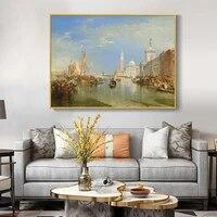 Peinture a lhuile sur voilier  ville retro  decor mural fait a la main  image pour salon  decoration interieure de la maison
