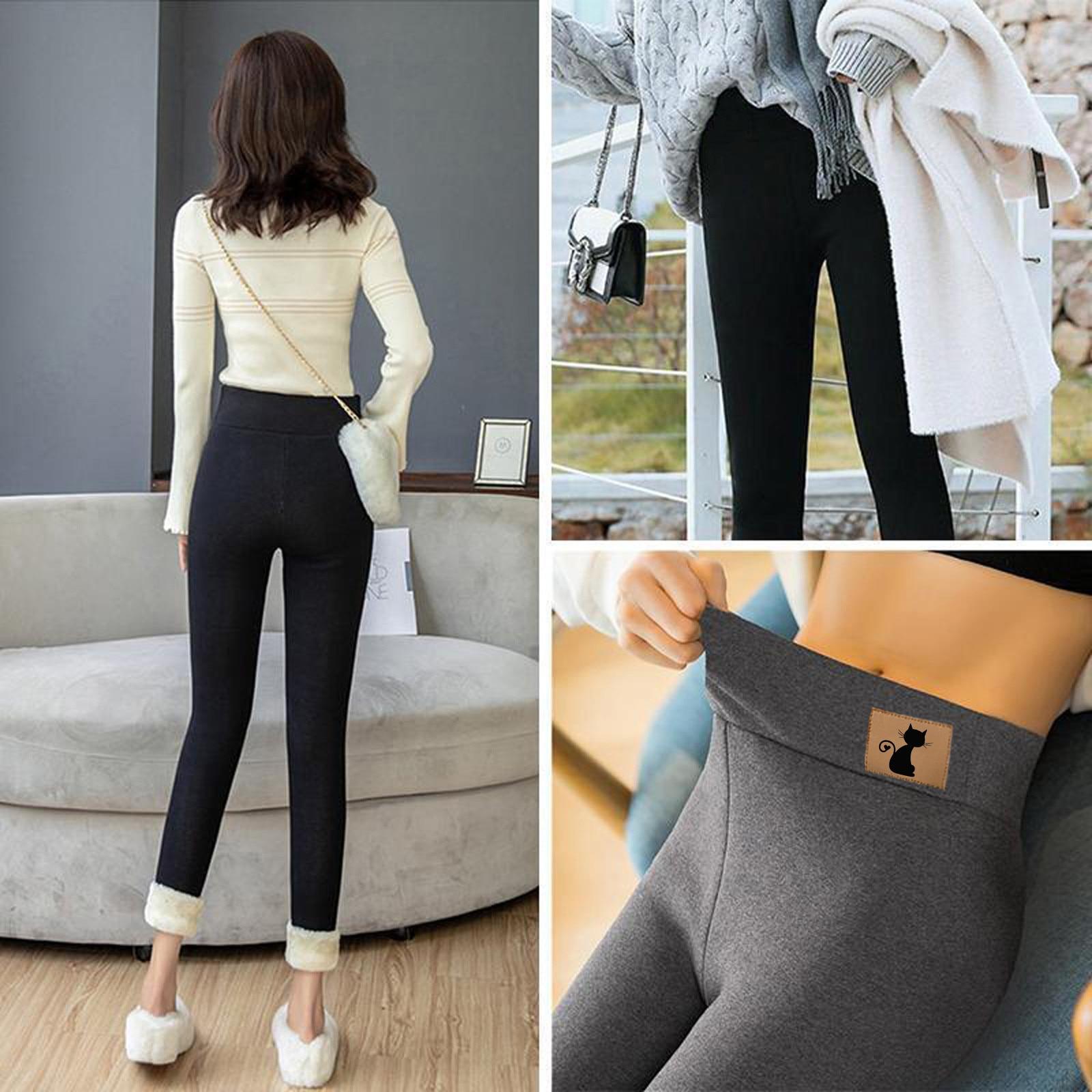 Normov-Vrouwen Super Dikke Kasjmier Lam Warme Leggings Hoge Taille Skinny Broek Winter Kat Print Polainas Mantener Caliente