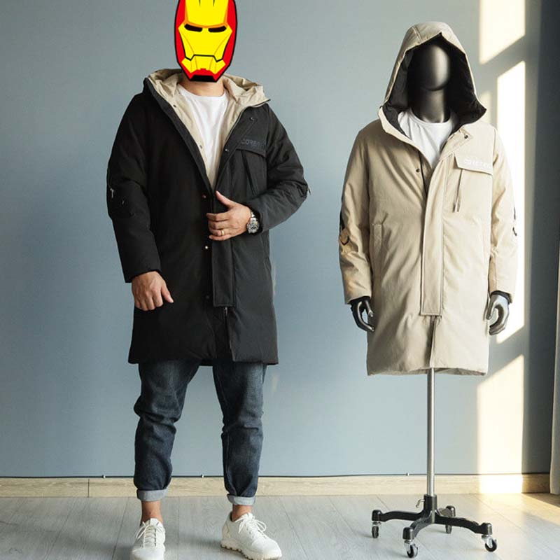 2021 Men's Duck Down Coat & Jacket Long Loose Parkas with Hood Warm Thick Winter Clothing for Male Casaul Outerwear 2XL 3XL 4XL