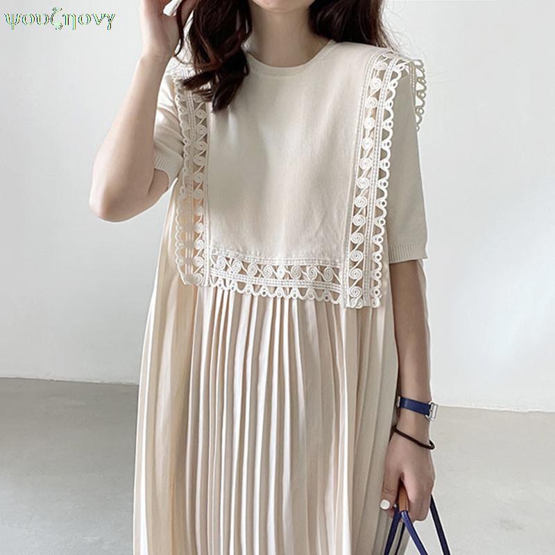 الكورية فستان أنيق فستان صيفي الرقبة الفرنسية الدانتيل فضفاضة طويلة مطوي فستان قصير الأكمام للنساء