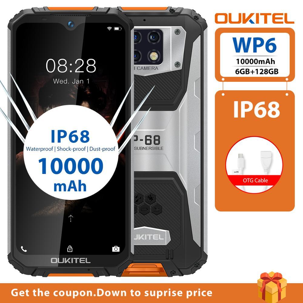 Перейти на Алиэкспресс и купить Водонепроницаемый Смартфон OUKITEL WP6, 6 ГБ 128 ГБ, прочный для мобильного телефона, Восьмиядерный, 48 МП, 9 В/2 А, 10000 мАч, тройная камера