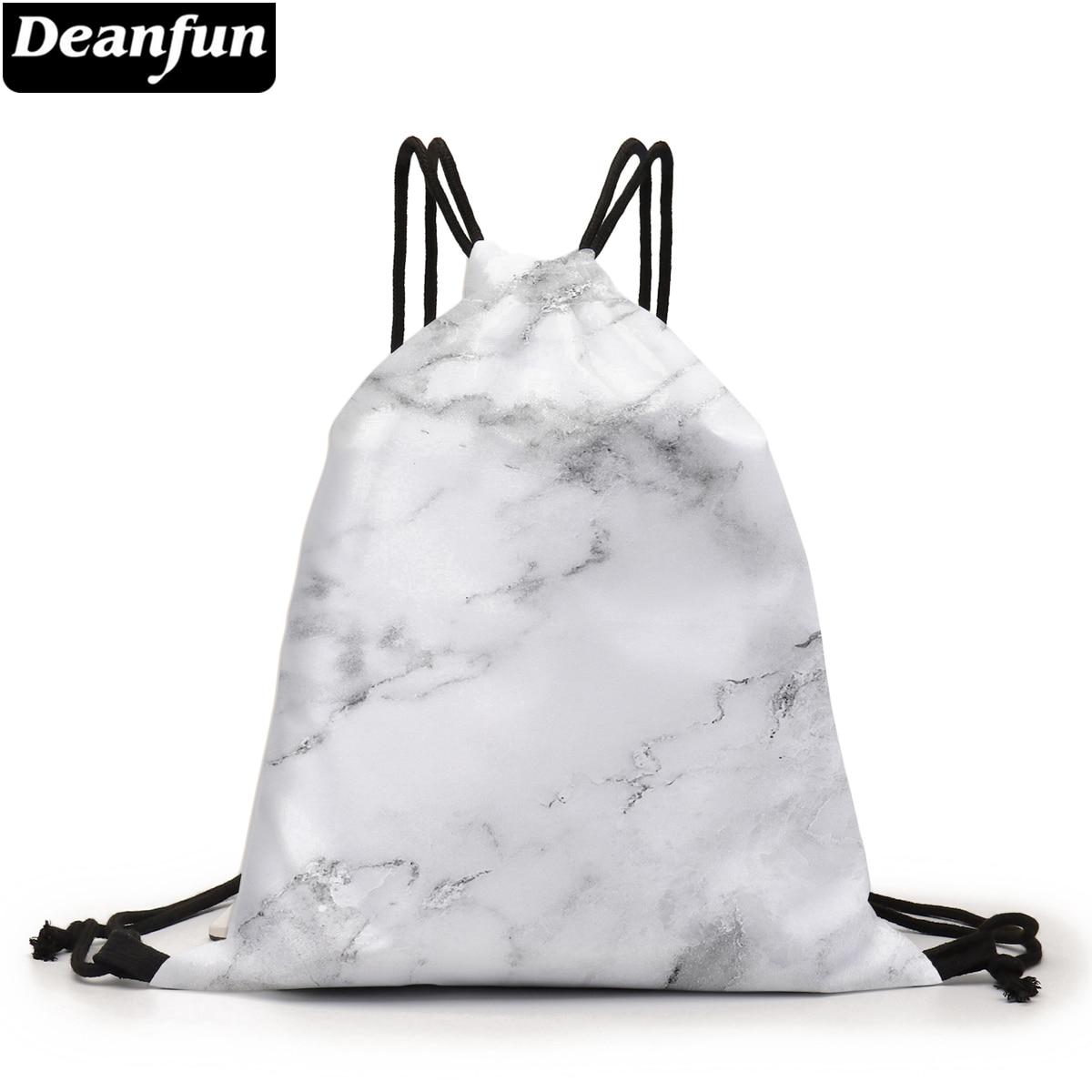 Deanfun Trekkoord Rugzak Wit Marmer 3D Gedrukt Pouch Bag Purse Tas Tasje D60359