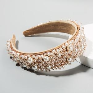 Handmade White Pearl Hair Hoop Headband for Women Hairband for Women Girls Bezel Hair Band Hair Accessories Wholesale