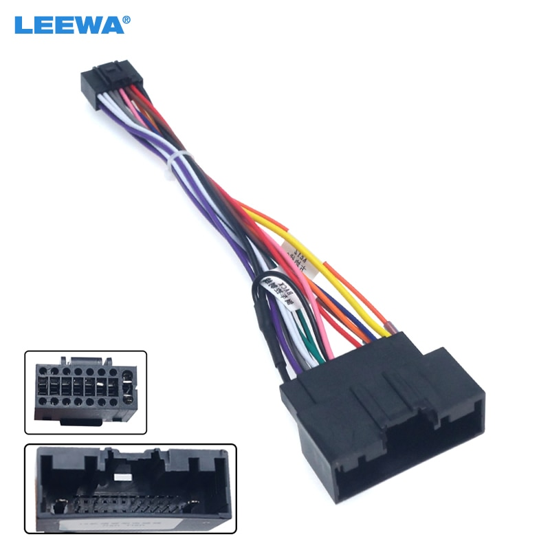 LEEWA 5set de Audio para coche 16PIN adaptador cableado arnés para Ford Focus 2015 + Power Calbe Stereo Install posventa enchufe de cable # CA2329