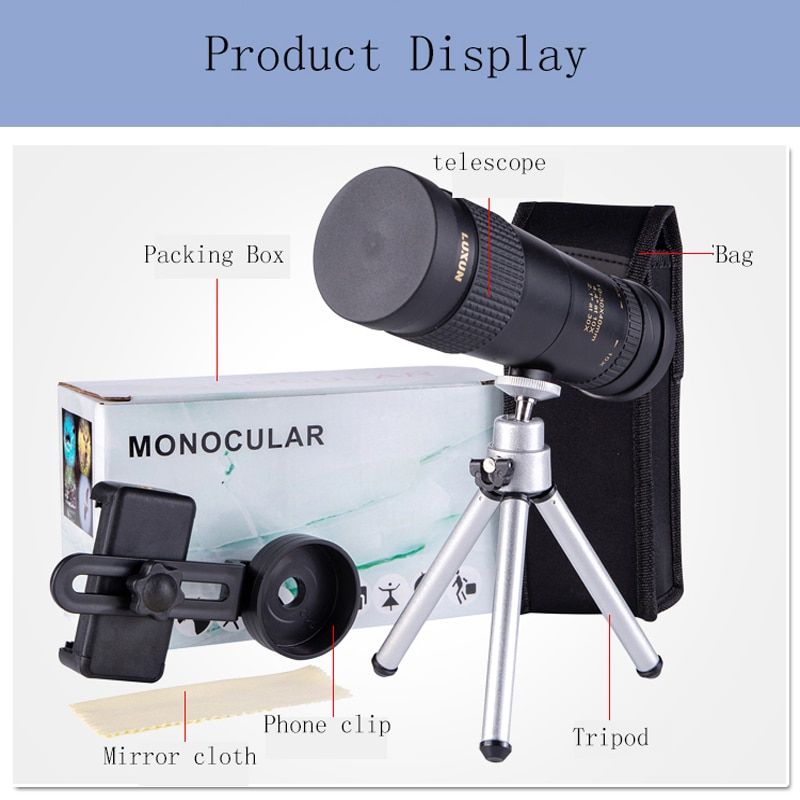 LUXUN 10-30X40 HD high magnification Zoom Telescope Powerful Monoculars Portable Stretch Telescope Outdoor Hunting Monoculars