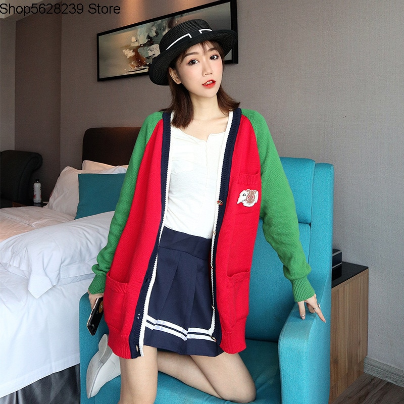 19 College Wind Knitting Cardigan V Collar Badge Student Medium Length Money Loose Coat Sweater