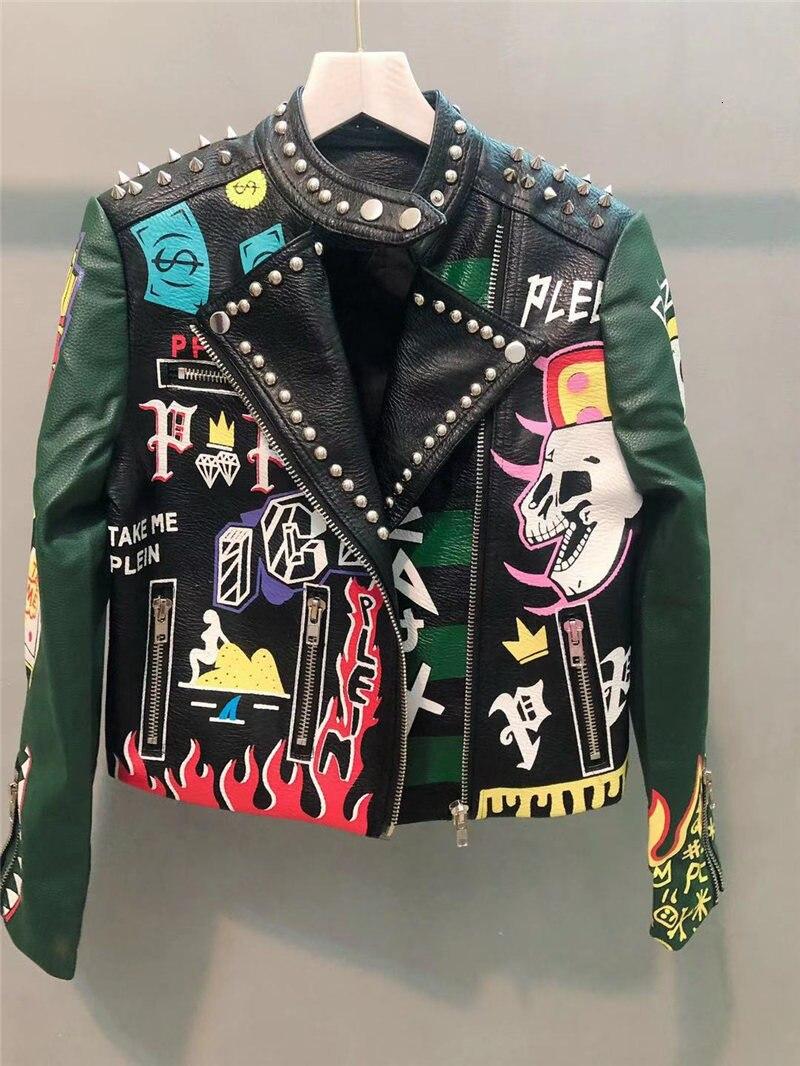Mujeres otoño Punk Graffiti cremallera remache imitación cuero chaqueta señoras Rock corto motocicleta Biker chaquetas otoño primavera cosecha PU abrigo