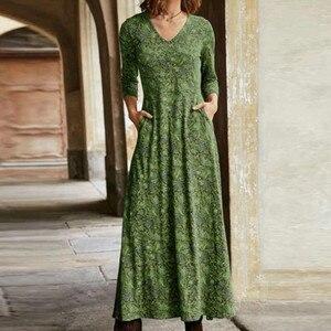Женское длинное Платье с цветочным принтом, повседневное свободное винтажное Платье с длинным рукавом и карманами, лето 2021