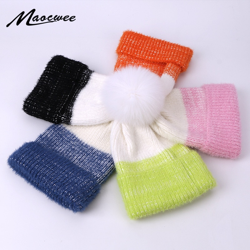 Real Fur PomPon Striped Cap Women Hat Beanies Caps Autumn Winter Warm Knitted Skullies Hats Pure Col