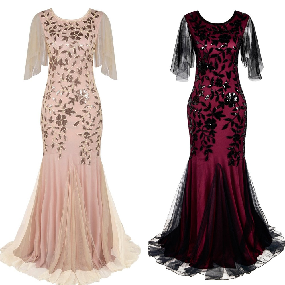 Spring and Summer 1920s Retro Evening Dress Sequined Bridesmaid Banquet Long Slim Mermaid  Plus Size