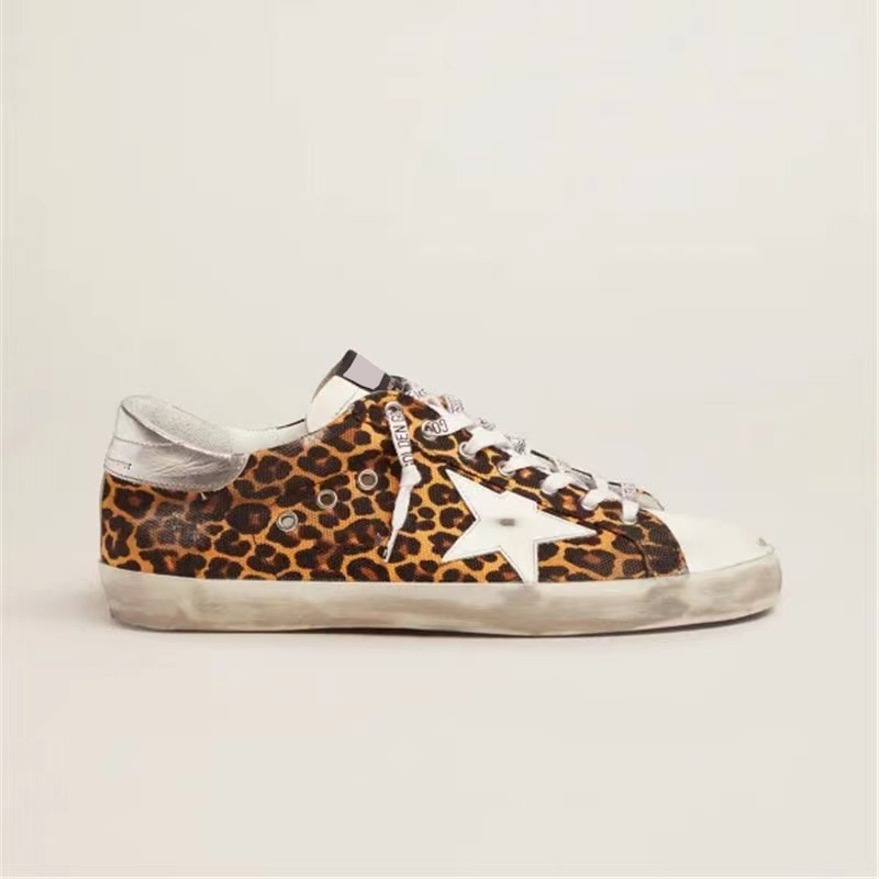 Autumn New Products Leopard Canvas  First Layer Cowhide Retro Distressed Small Dirty Children's Shoes Parent-child Sneakers QZ70 enlarge