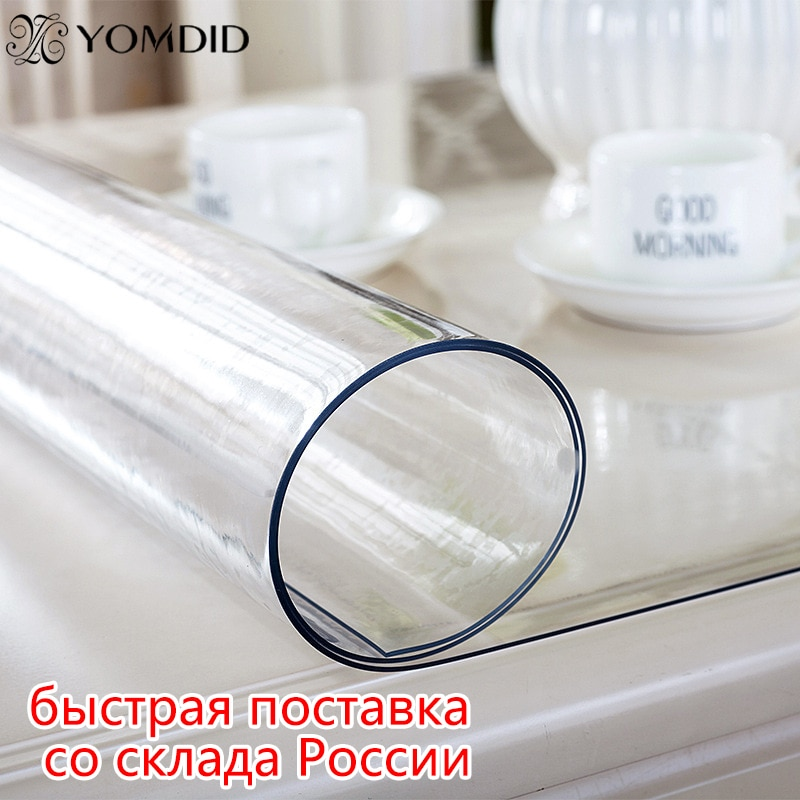 Soft Glass Tablecloth Transparency PVC table cloth Waterproof Oilproof Kitchen Dining table cover for rectangular table 1.0mm