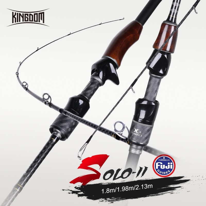 Kingdom Solo II Fishing Rods 1.8/1.98/2.13m Fast Spinning rod FUJI Ring L/ML/M/MH Power Wooden Handle Sea Freshwater Casting Rod