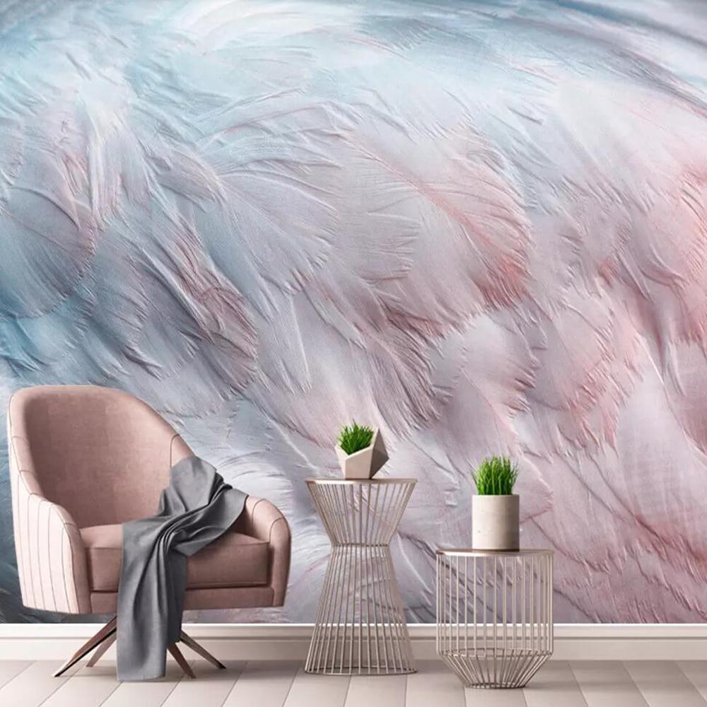 Milofi custom large 3D wallpaper mural Nordic watercolor flamingo wing feathers background wall decoration wallpaper mural