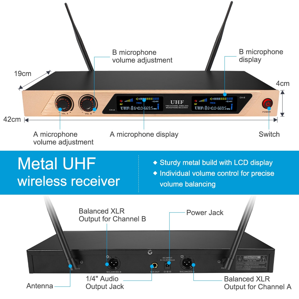 UHF Rechargeable Wireless Microphone System Karaoke Microphone Wireless Mic Cordless Dual with Receiver for Karaoke enlarge