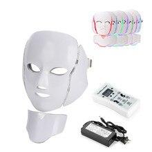 Dropship LED Facial Mask Beauty Photon Therapy 7 Colors Light Skin Care Rejuvenation Wrinkle Acne Removal Face Neck Beauty Spa