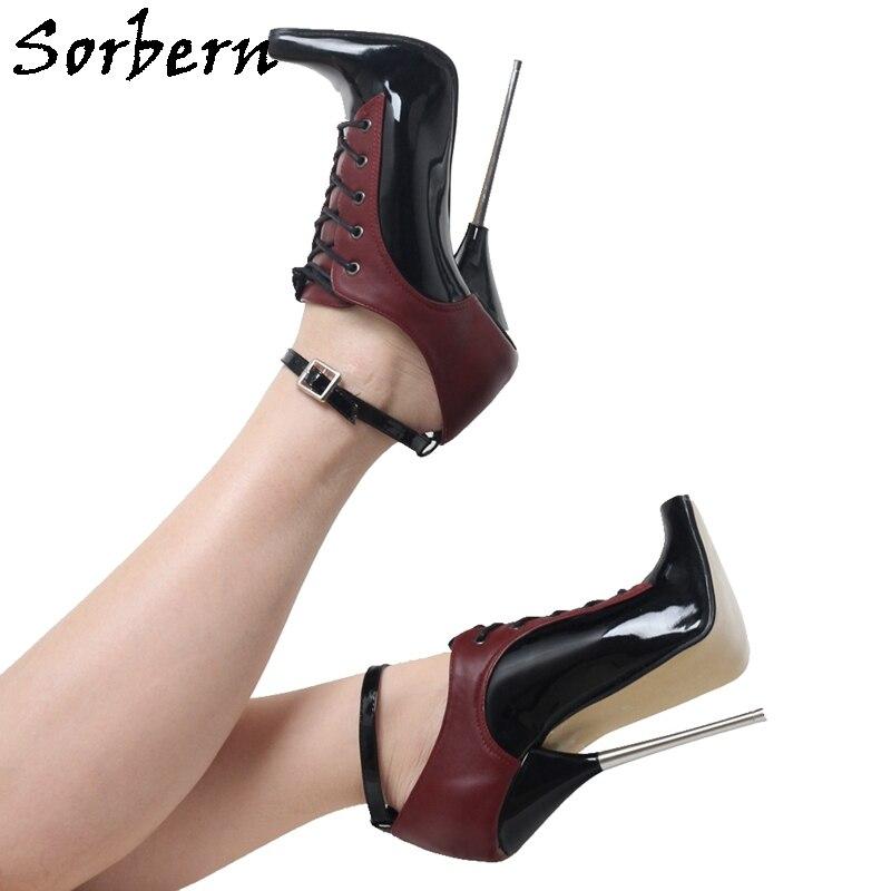 حذاء باليه ماركة Sorbern حذاء بنعل معدني عالي الكعب للسيدات أحذية بكيني خضرية تصميم بديل حسب الطلب