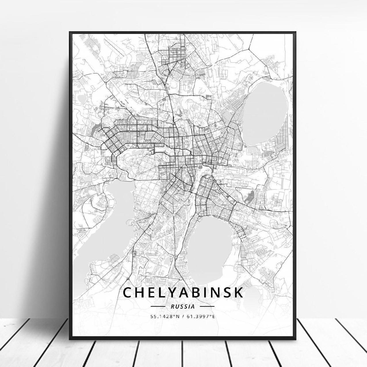 Chelyabinsk Moscú Novosibirsk Krasnoyarsk NIzhny Novgorod Kazan Rusia arte de la lona mapa