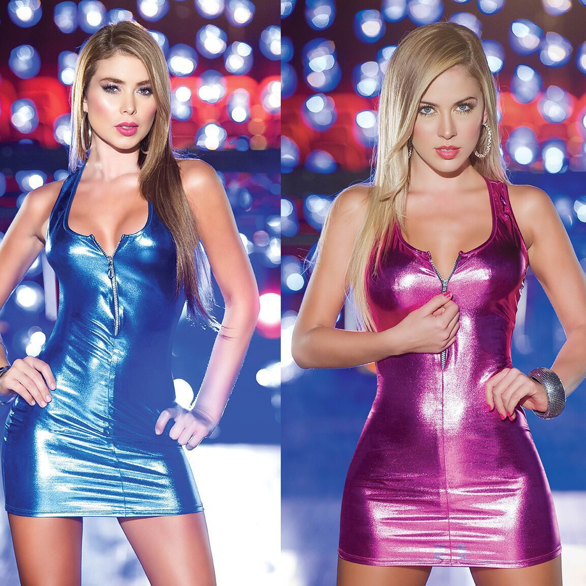 New Women lingerie shiny faux leather  bodysuits sexy mini skirt with zip for  nightclub show