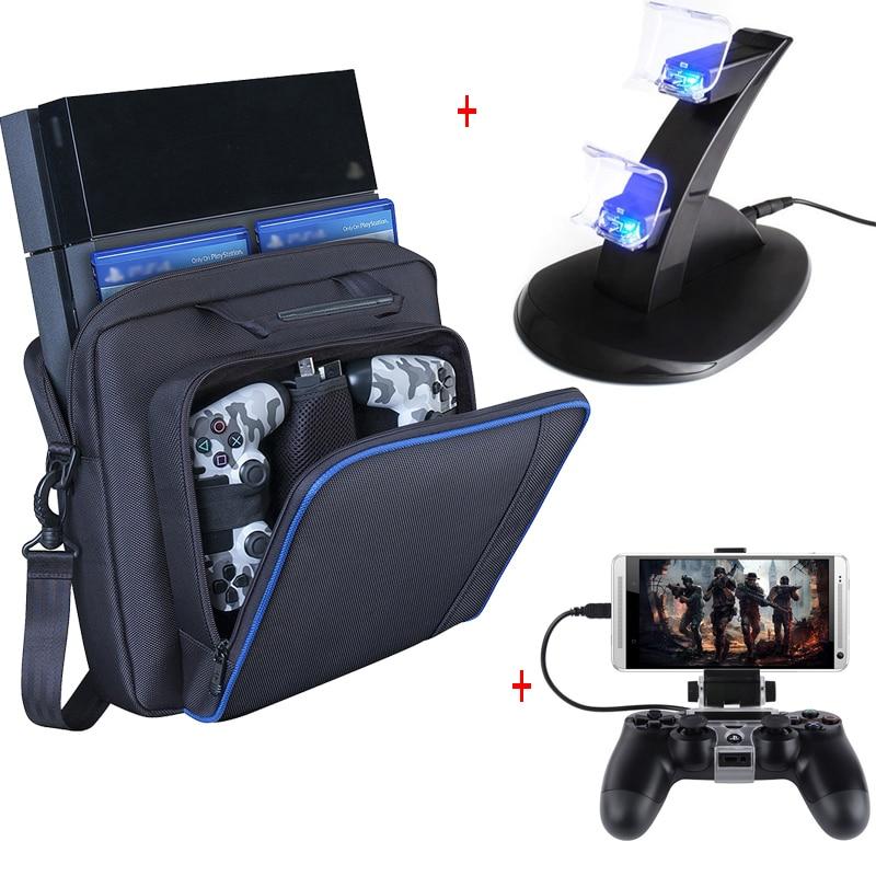 PS4 اكسسوارات بلاي ستيشن 4 المقود PS4 وحدة شاحن الهاتف كليب عادي PS4 لعبة وحدة التحكم حقيبة التخزين ل بلاي ستيشن 4