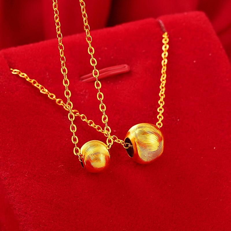 Изысканные свадебные юбилей из 14-каратного золота колье для женщин золотой передачи бусины в форме сердца кулон ключица цепочка ожерелье П...