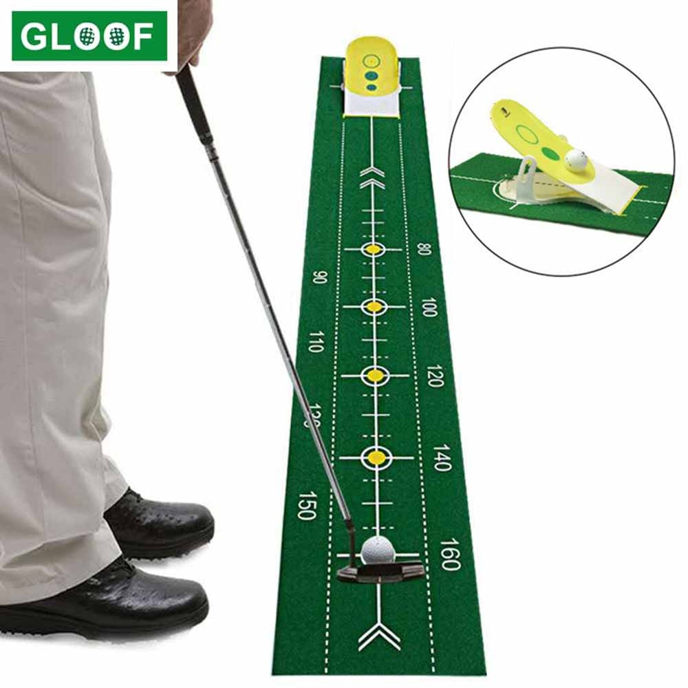 Indoor Golf Putting Green Swing Trainer Set - Portable Mat with 4 Holes Green Practice Training Aid for Home Office Outdoor Use