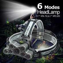 Powerful 9 LED USB Headlamp 25000 LM XML T6 Q5 LED Head Torch Forehead Light Frontal Flashlight 18650 Headlight+USB Cable