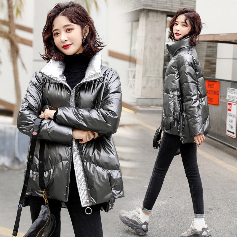 Stand-Up Collar Women Coat 2021 New Winter Bread Clothes Cotton-Padded Jacket Thick Glossy Design Warm Outwear Parkas