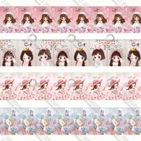 cartoon girl 1 12 printing lanyardgrosgrainsatin ribbon design customized for diy hair craft supplies sewing 50 yard