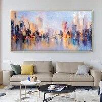 Affiche de peinture sur toile dart abstrait  paysage architecture de ville moderne  decoration de maison pour salon