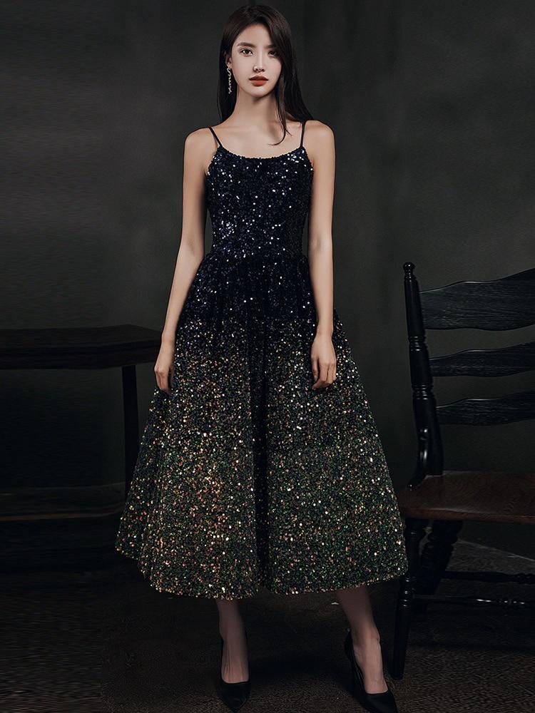 A-Line Evening Dress 2020 Vintage Sequins Sparkle Prom Party Gowns