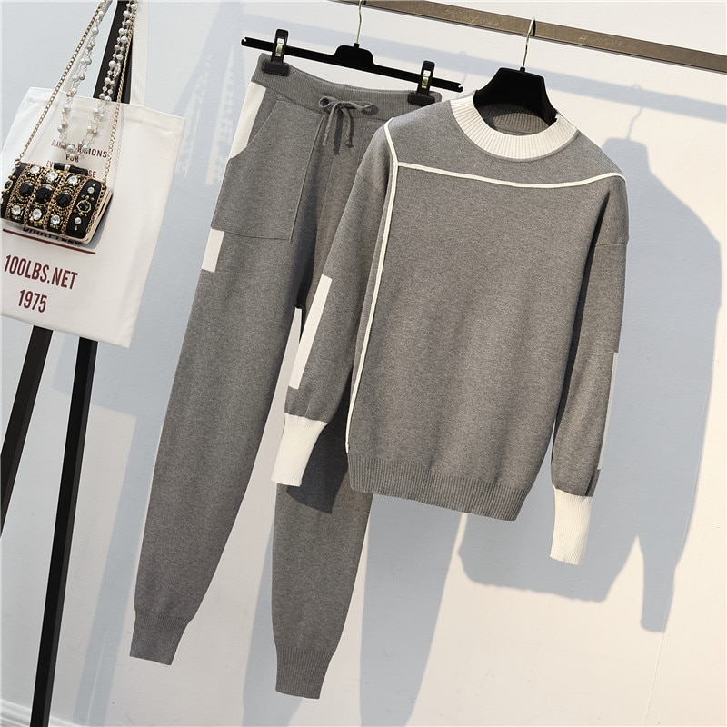 Sets Woman Sweater Suits Knit Casual Tracksuits Crewneck Pullovers+Drawstrings Elastic Pants Two Piece Sets Female Outfits 800E