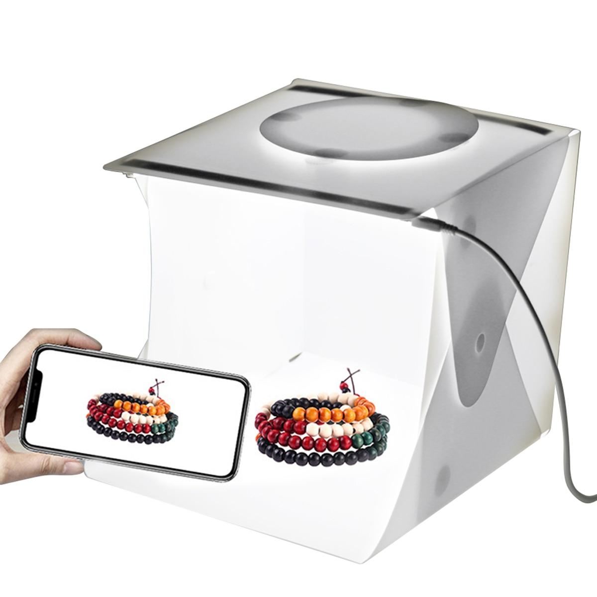 Mini Folding Photography Photo Studio Light Box for DSLR Camera Shooting Tent with Dual LED Strip Lights Photo Softbox Lightbox