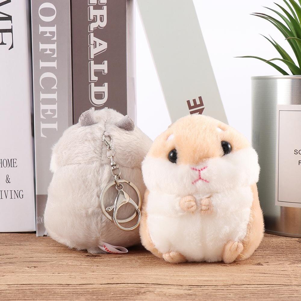 Bebé niños Kawaii peluche suave Animal de dibujos animados Blanco/caqui pequeño hámster juguete llavero de muñeco de peluche ratón de juguete