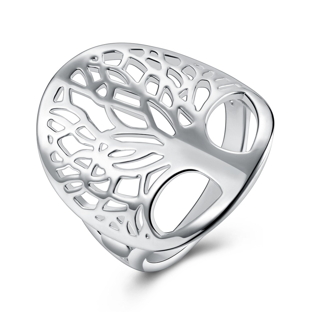 Beautiful 925 Sterling silver tree of life ring hollow fashion noble women lady design women lady gift men unisex cute gift
