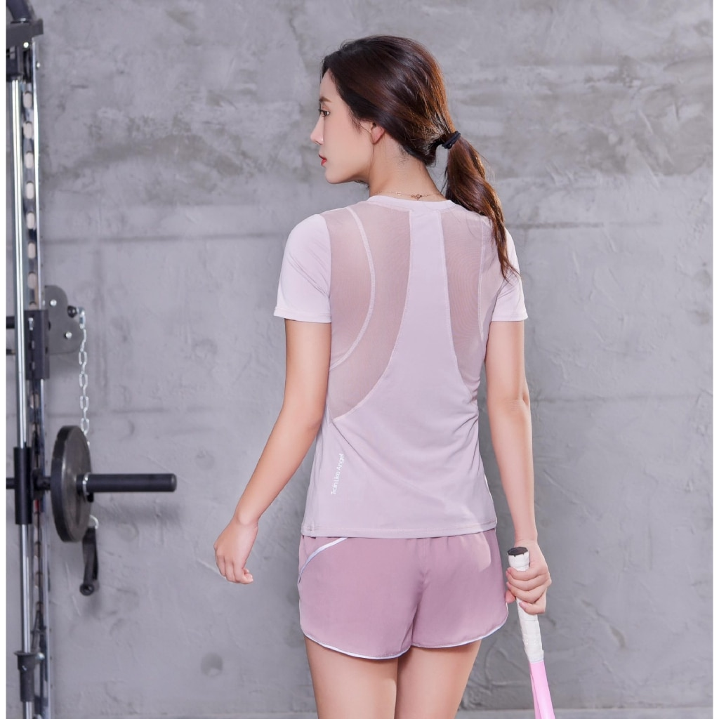 Fast-drying T shirt women's sports blouses yoga running training thin gym tops