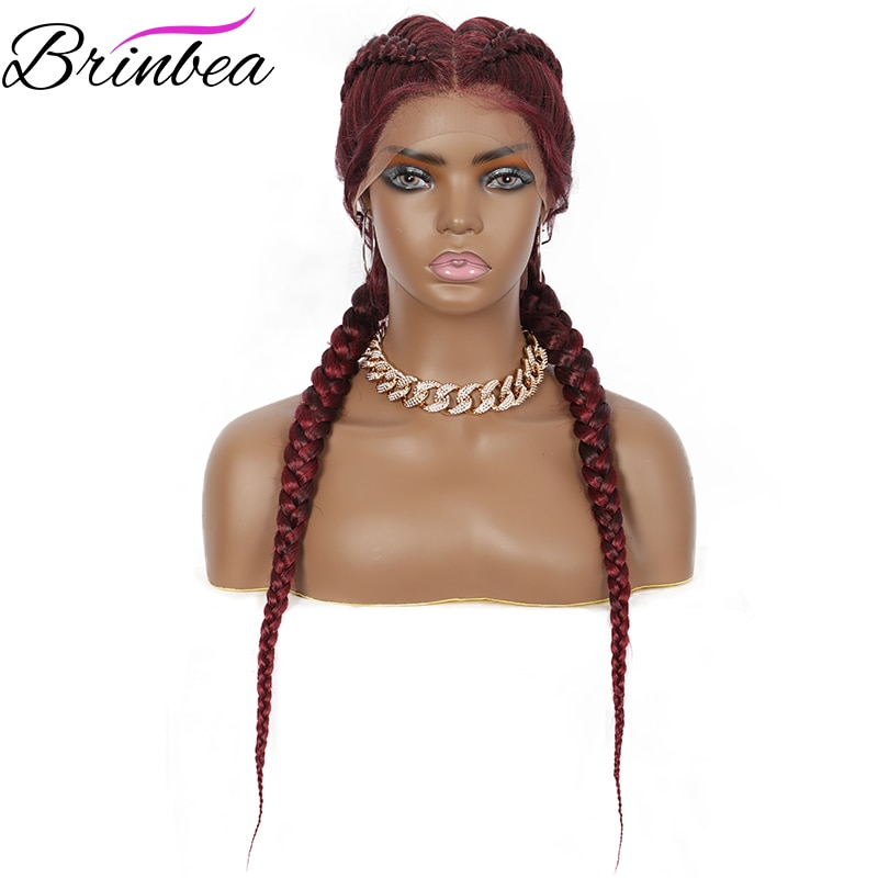 Brinbea Braided Wigs Soft Lace Front Wig Natural Dutch Twins Brown Braids Hair For Women with Baby Hair Synthetic Wigs