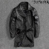 New 2021 Long Genuine Leather Jacket Men Korean Cowhide Coat Plus Size Jackets 5xl Spring Autumn Leather Windbreaker