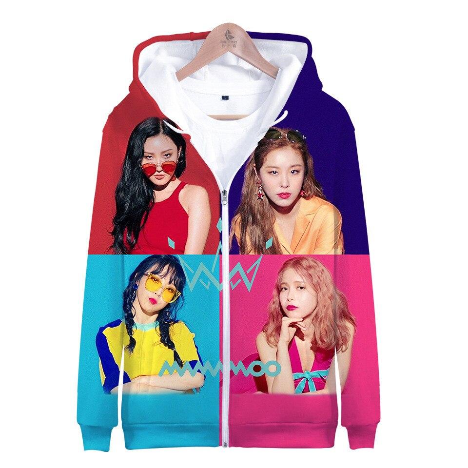 Mujeres Idol Group MAMAMOO, sudaderas con capucha estampadas en 3d, sudadera Coreana de manga larga, sudadera de algodón para mujer, sudadera harajuku k-pop, chaqueta, abrigo