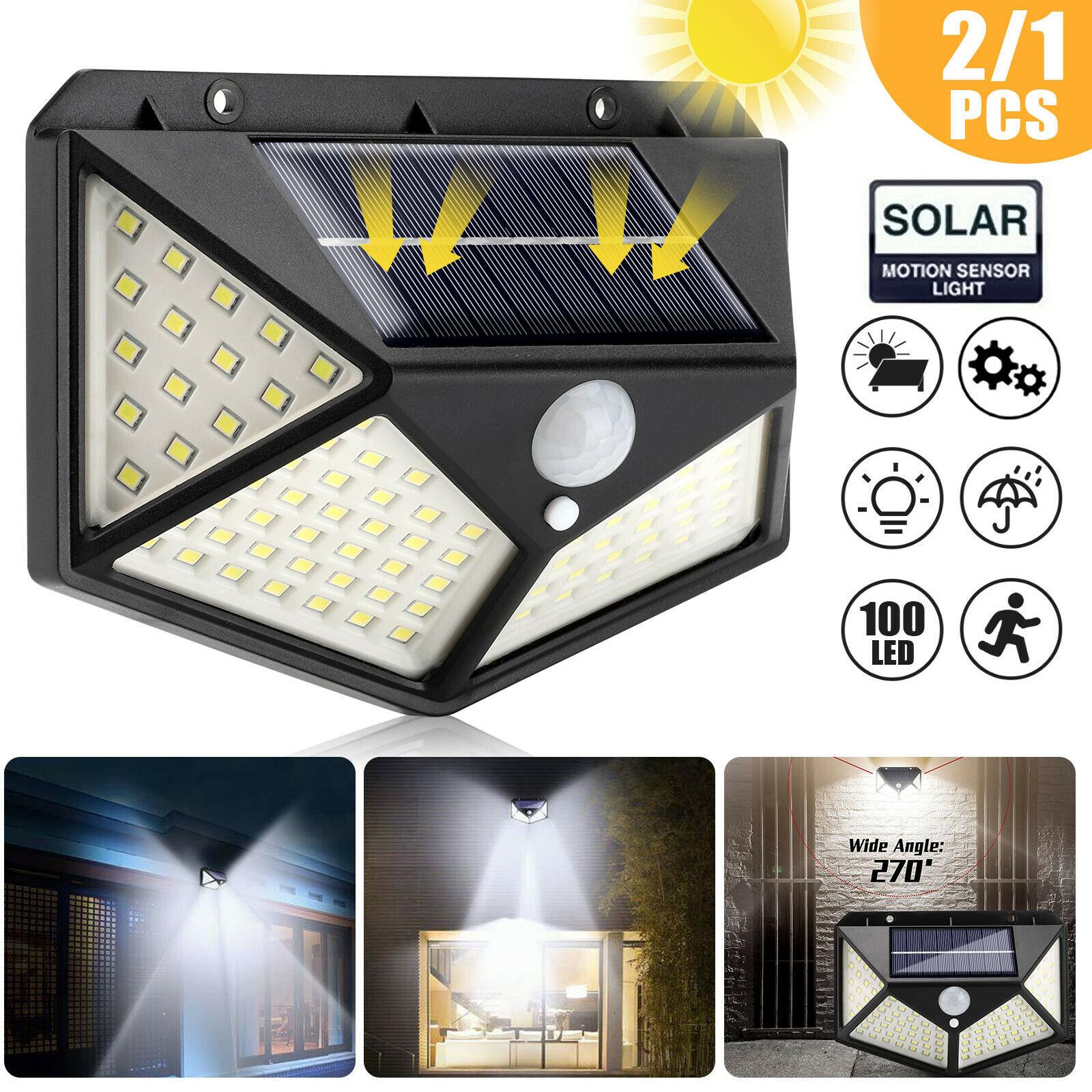 SHOPLED 100 Led Solar Light Waterproof LED Bulb Outdoor Solar Lamp PIR Motion Sensor Solar Wall Lamp