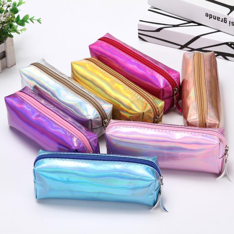 Mini caixa de lápis da escola do laser bonito grande multi pencilcase penal colorido maquiagem caneta saco para meninas meninos papelaria bolsa suprimentos