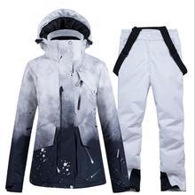 -30 Vrouwen Skipak Snowboarden Kleding Set Sneeuw Kostuum Winter Sporten Hooded Waterdichte Sneeuw Jassen + Broek Vrouwen pak