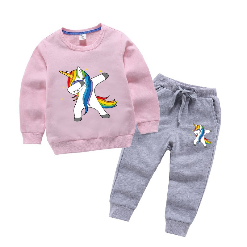 Conjuntos de ropa de unicornio rosa para niñas ropa de algodón para niños sudadera de manga larga + Pantalones niños traje deportivo otoño
