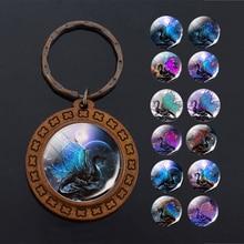 Vintage marron en bois porte-clés verre Cabochon bijoux bleu ailes Dragon pendentif femmes hommes voiture porte-clés cadeau accessoires en gros
