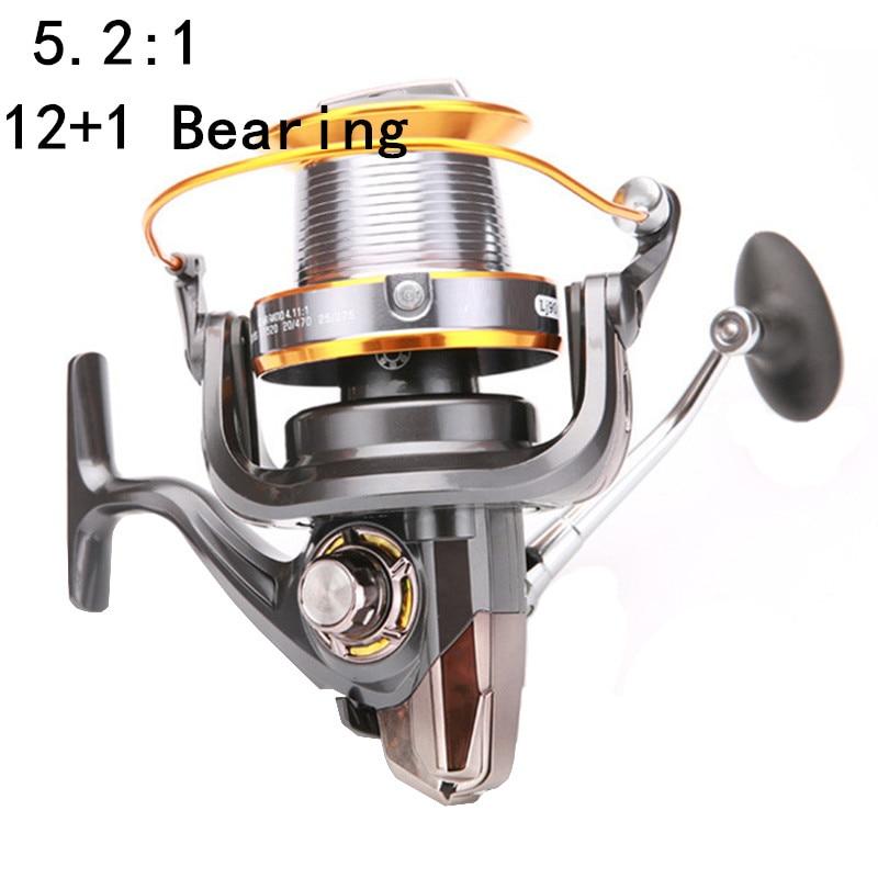 Engranaje de pesca marina, carrete de pesca con rueda giratoria, Series 3-9000, 12 + 1 cojinete, herramientas de pesca de rueda distantes, accesorio de carrete giratorio